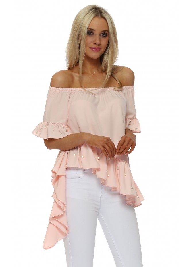 Italian Boutique Asymmetric Pink Pearl Bardot Top