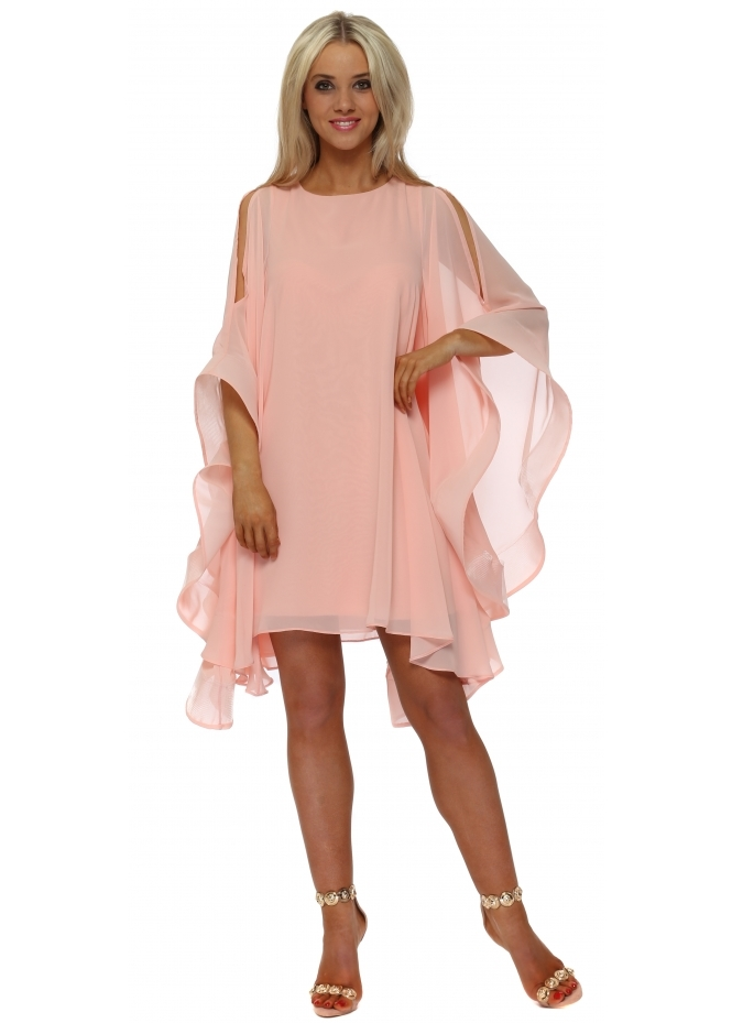 Red & Royal Peach Chiffon Cape Sleeve Dress