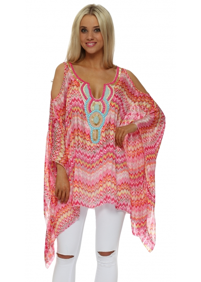 Troiska Pink Embellished Zig Zag Cold Shoulder Kaftan Top