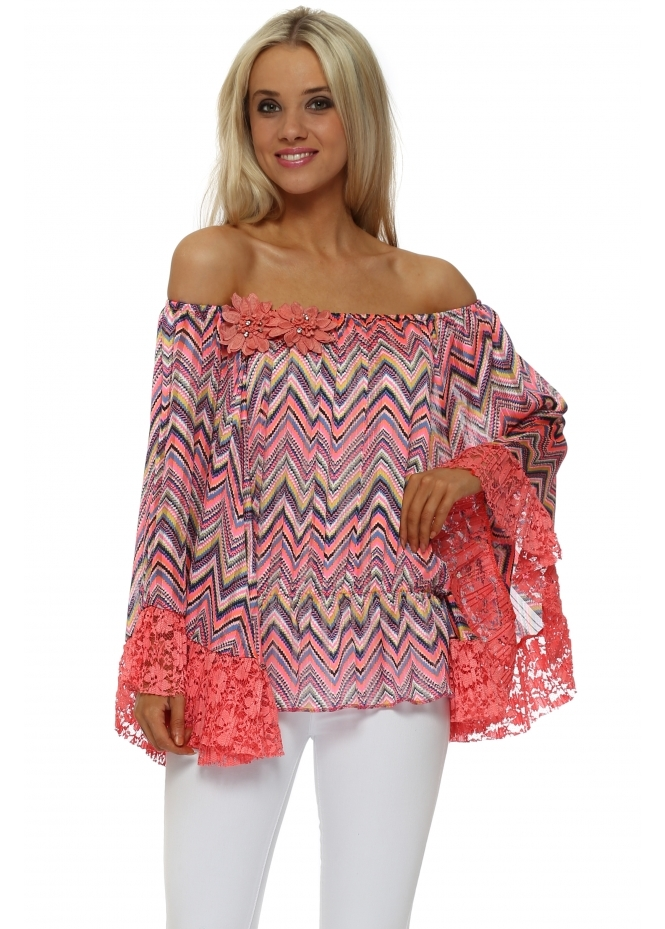 Just M Paris Coral Lace Zig Zag Fleur Bardot Top
