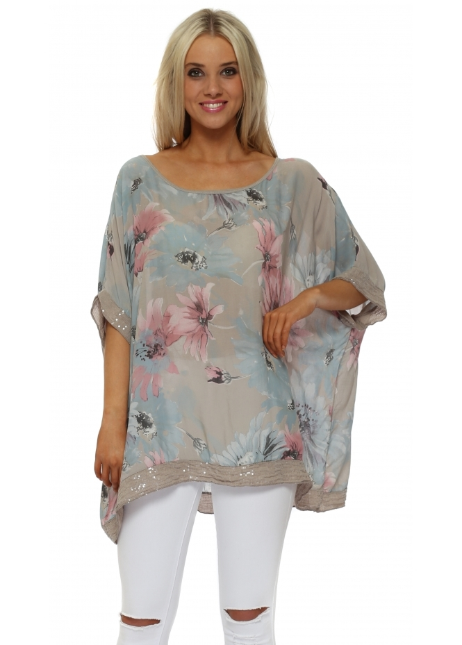 Made In Italy Mocha Floral Loose Fit Sequinned Top