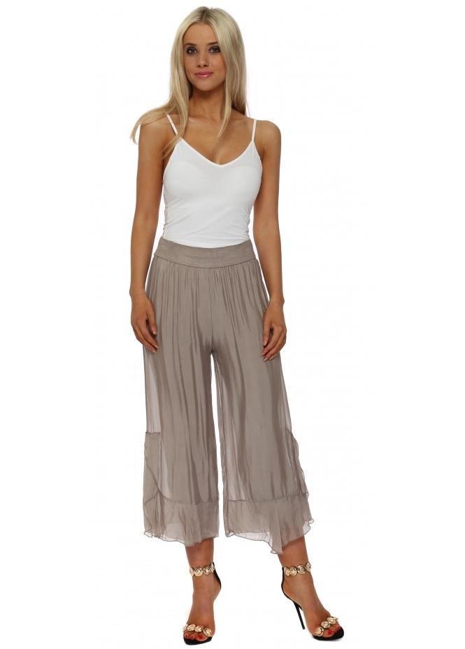 Italian Boutique Mocha Silk Frill Wide Leg Culottes