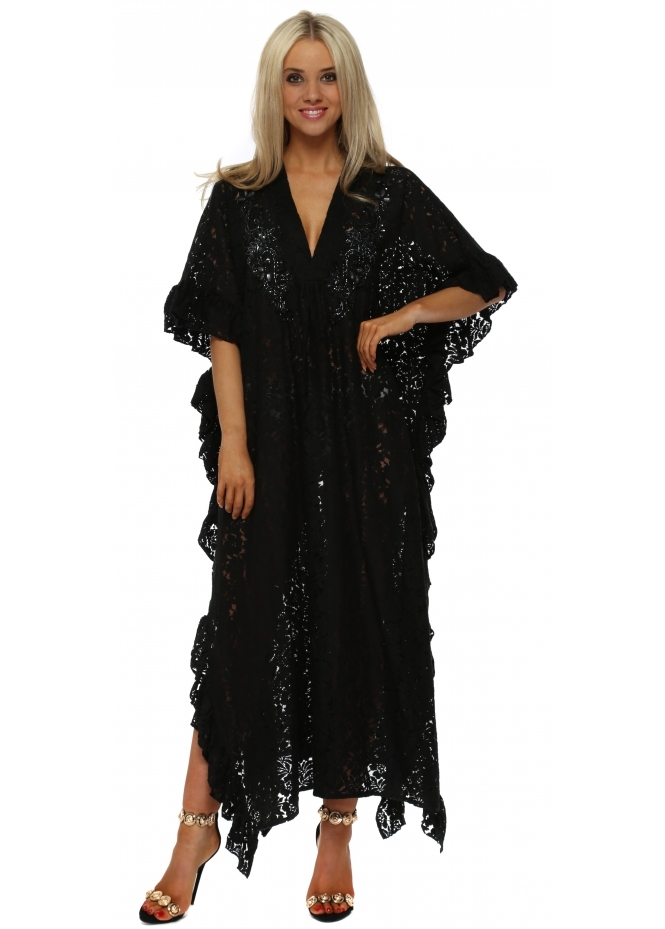 Antica Sartoria Black Lace Sequin Embellished Maxi Kaftan Dress