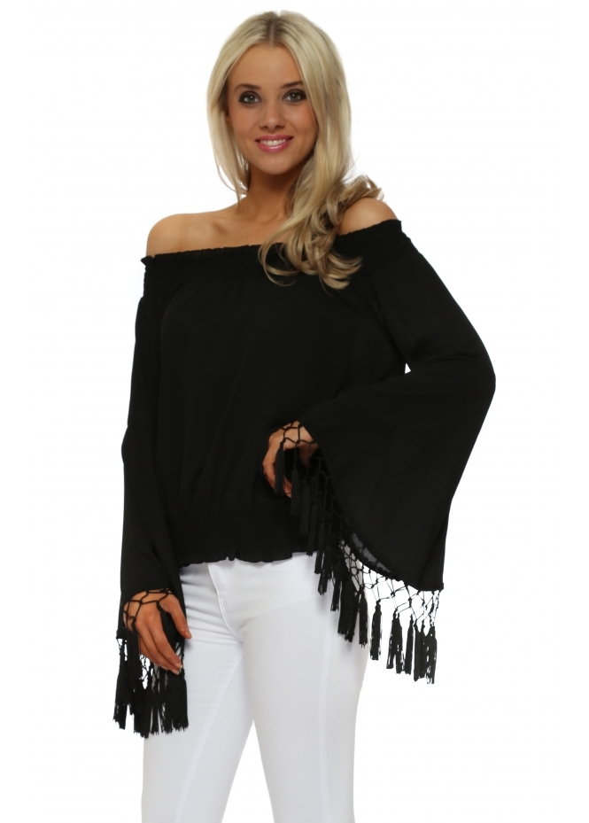 French Boutique Black Tassle Sleeve Off The Shoulder Top