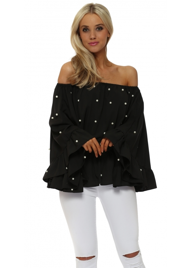 Italian Boutique Pearl Embellished Black Bardot Flared Sleeve Top