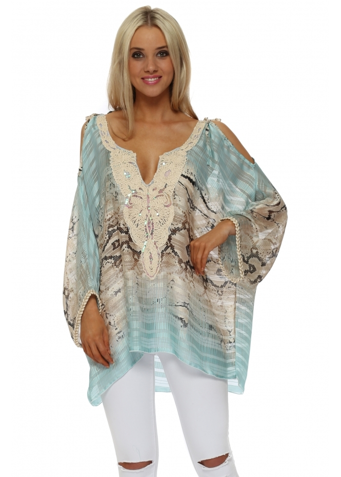 Troiska Aqua Snake Print Cold Shoulder Tunic Top