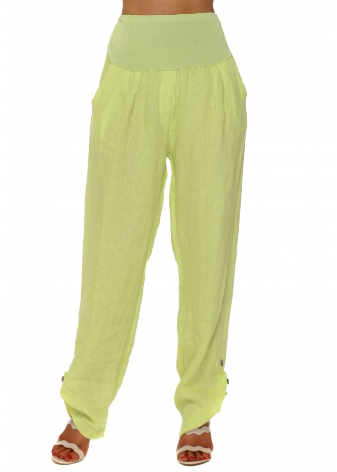 Sugar Babe Lime Linen Turn Up Hem Loose Trousers