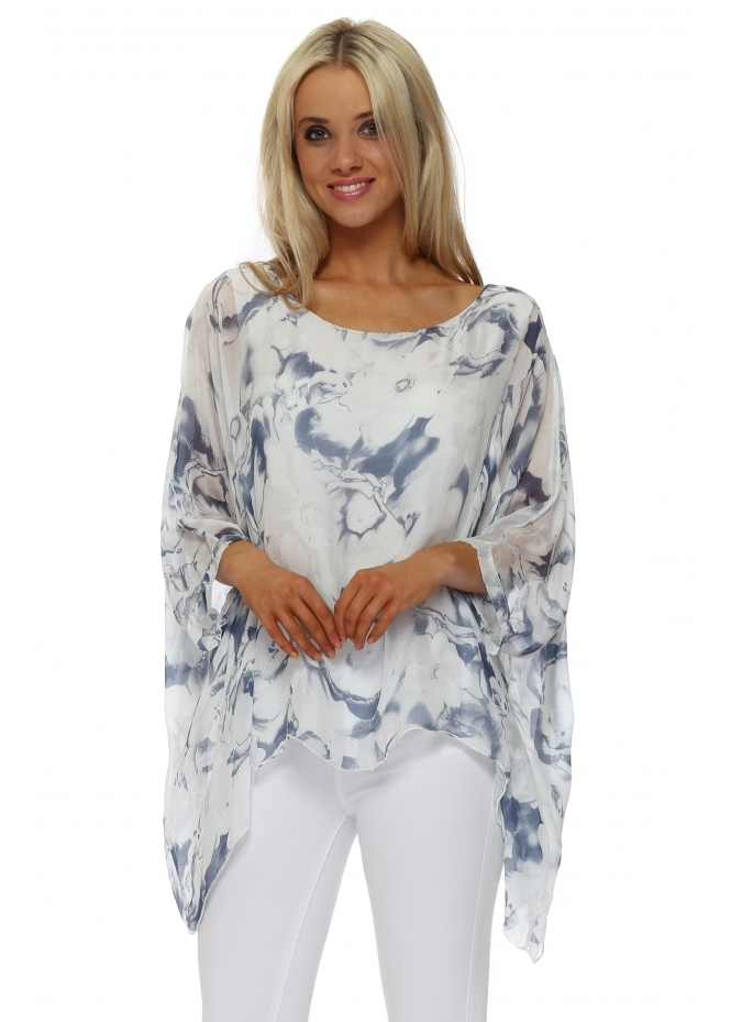 Made In Italy Blue & White Bold Rose Silk Batwing Top