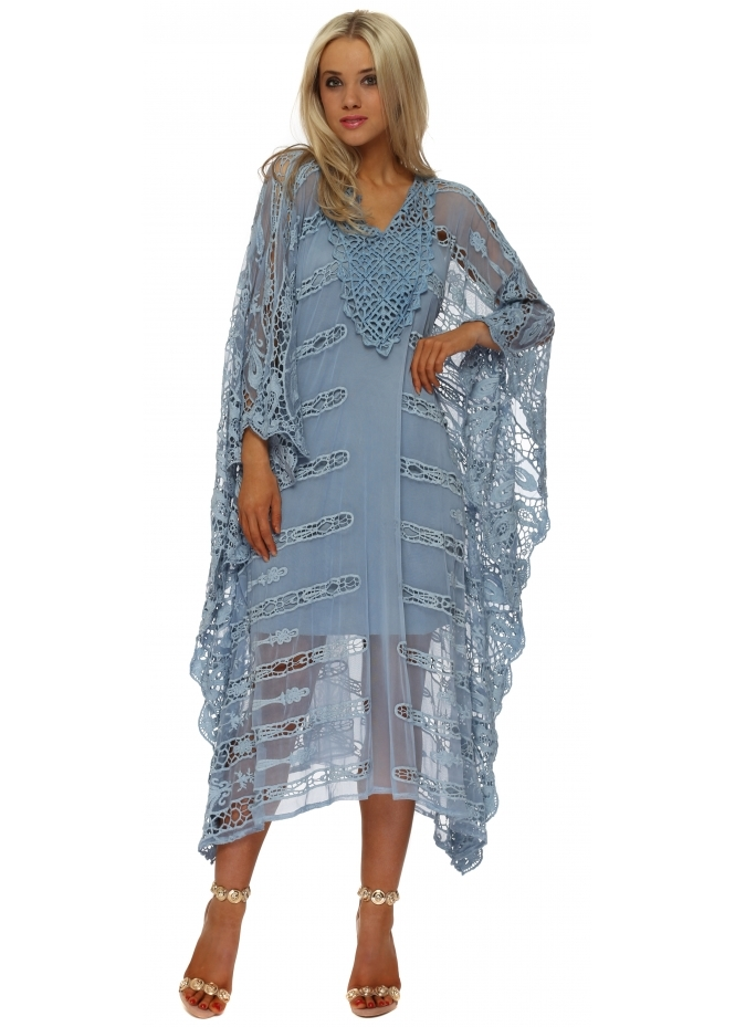 French Boutique Bali Blue Cut Out Crochet Long Kaftan
