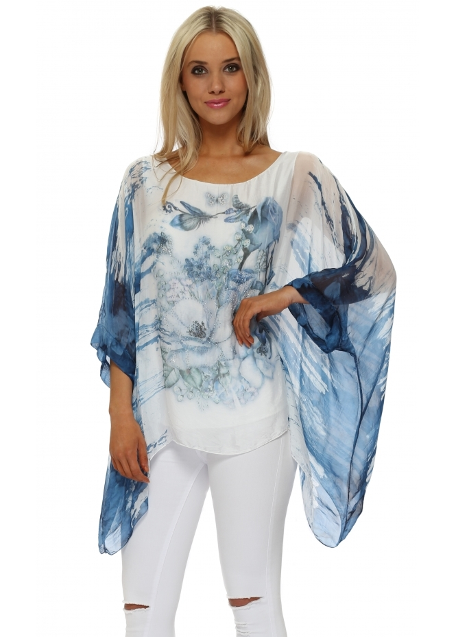 Made In Italy Ocean Blue Butterfly Floral Sparkle Silk Top