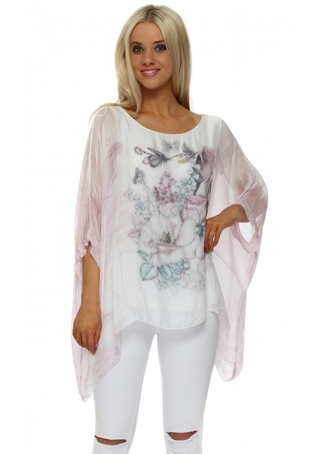 Made In Italy Pink Butterfly Floral Sparkle Silk Top