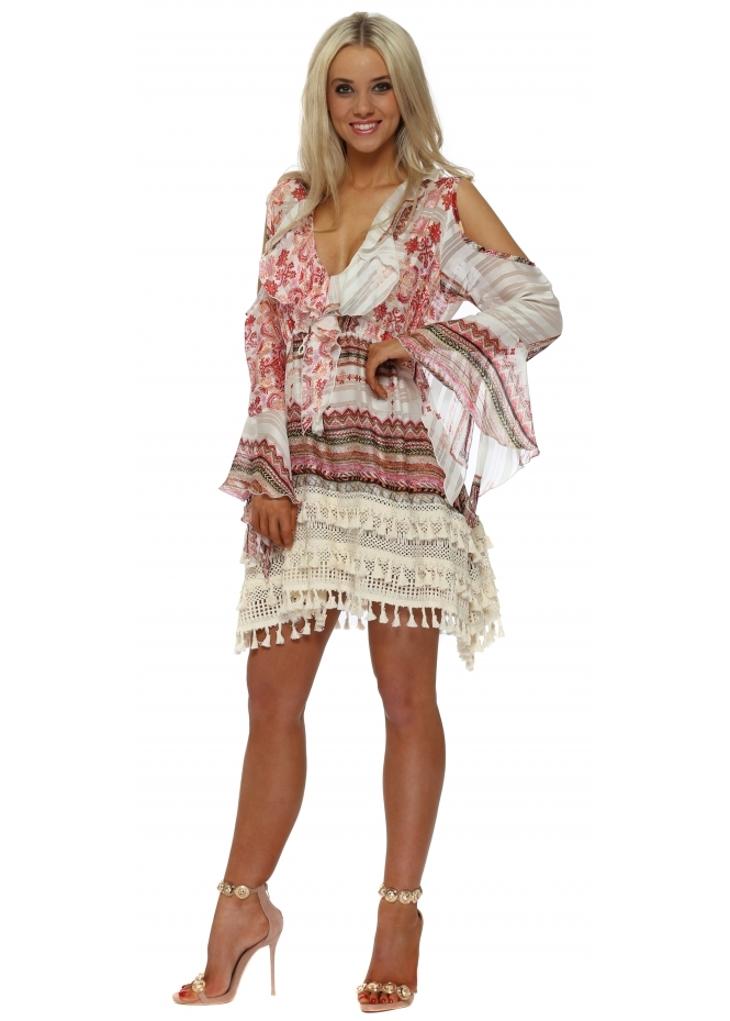 Laurie & Joe Pink Tapestry Print Ruffle Mini Dress