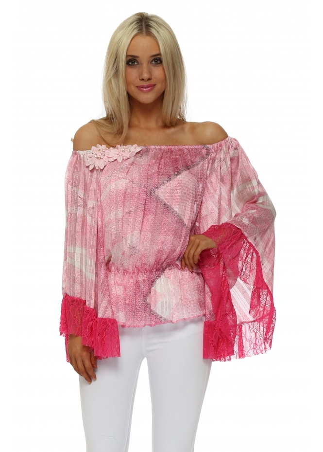 Just M Paris Pink Lace Abstract Fleur Bardot Top