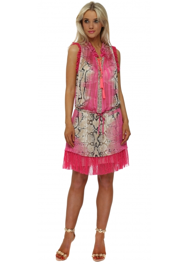 Just M Paris Fucshia Snake Print Crystal Neckline Dress