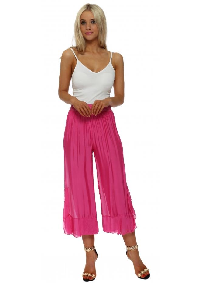 Italian Boutique Fucshia Silk Frill Wide Leg Culottes