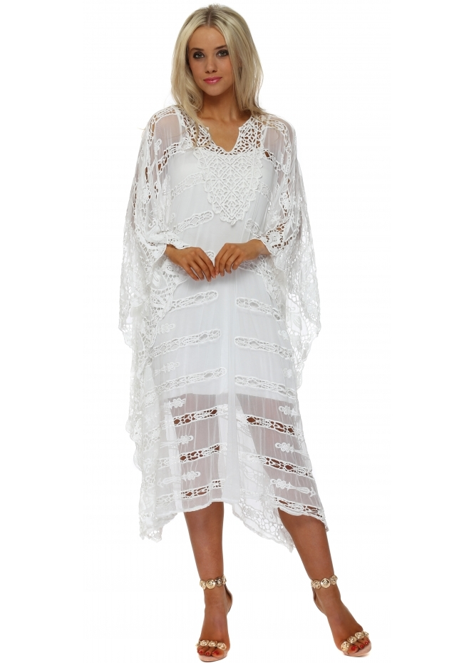 French Boutique Bali White Cut Out Crochet Long Kaftan