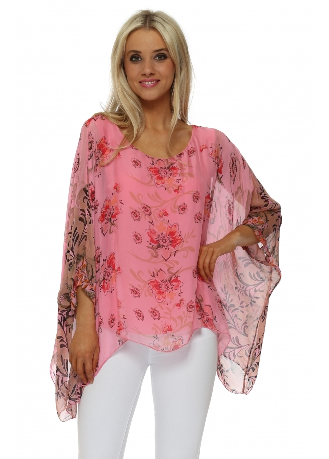 Made In Italy Pink Silk Floral Filigree Floaty Top