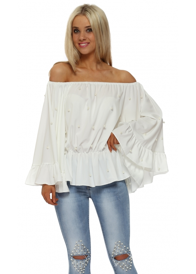 Italian Boutique Pearl Embellished White Bardot Flared Sleeve Top