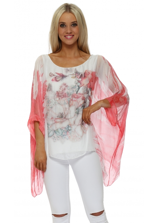 Made In Italy Coral Butterfly Floral Sparkle Silk Top