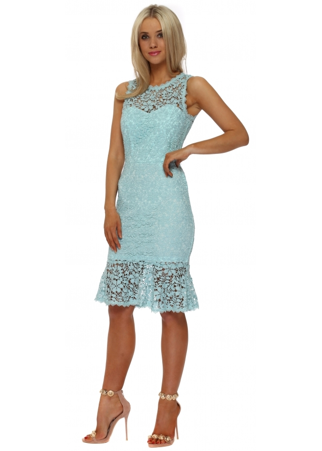 Paper Dolls Mint Crochet Lace Peplum Pencil Dress