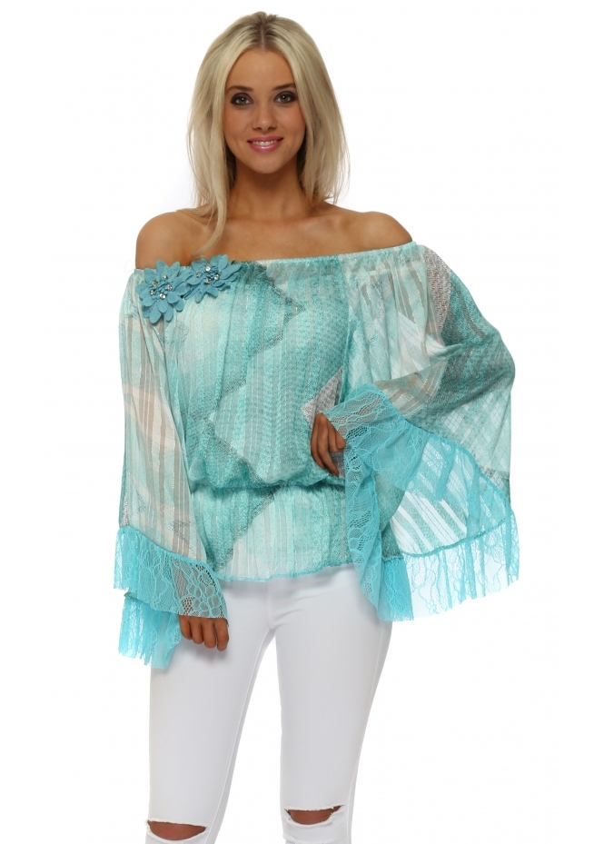 Just M Paris Turquoise Lace Abstract Fleur Bardot Top