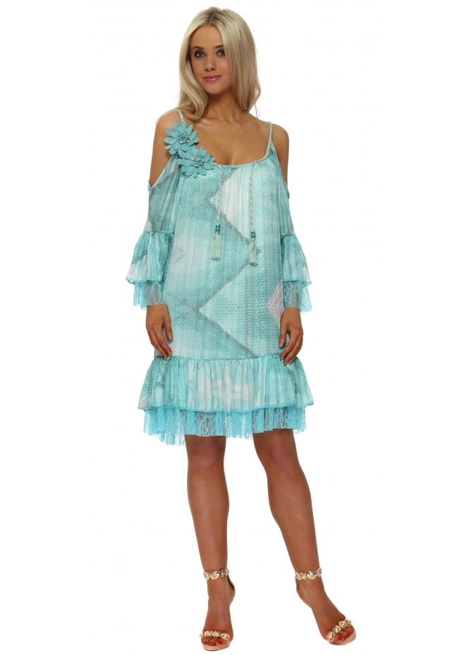 Just M Paris Fleur Turquoise Abstract Cold Shoulder Shift Dress