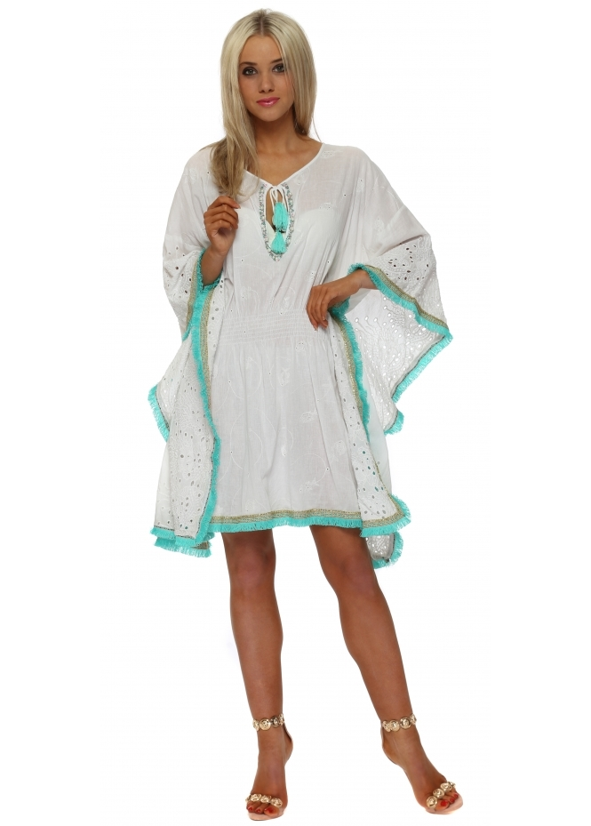 Antica Sartoria White Broderie Anglaise Aqua Tassel Kaftan Dress