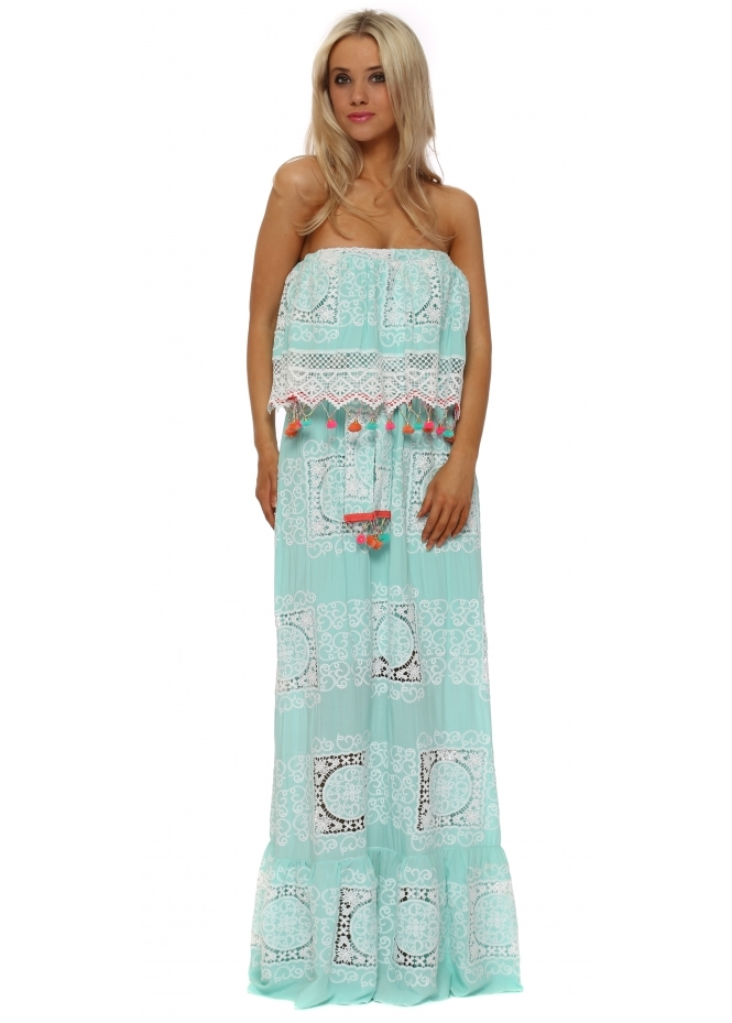Laurie & Joe Aqua Lace Overlay Bardot Maxi Dress