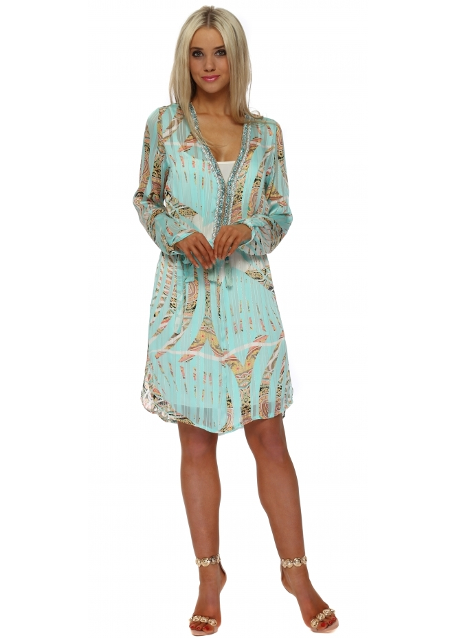 Just M Paris Aqua Tropical Paisley Crystal Neckline Dress