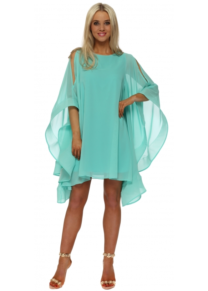 Red & Royal Mint Chiffon Cape Sleeve Dress