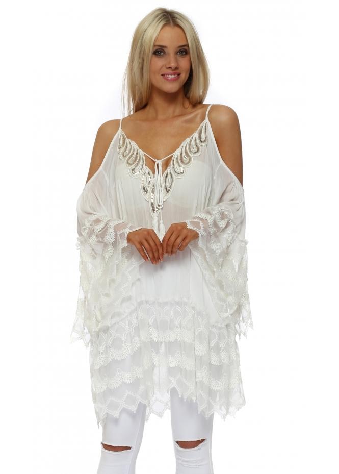 Senes White Sequinned Lace Trim Cold Shoulder Top