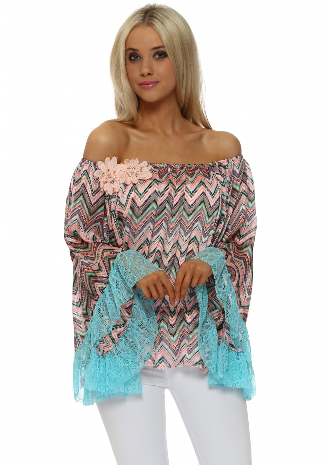 Just M Paris Turquoise Lace Zig Zag Fleur Bardot Top