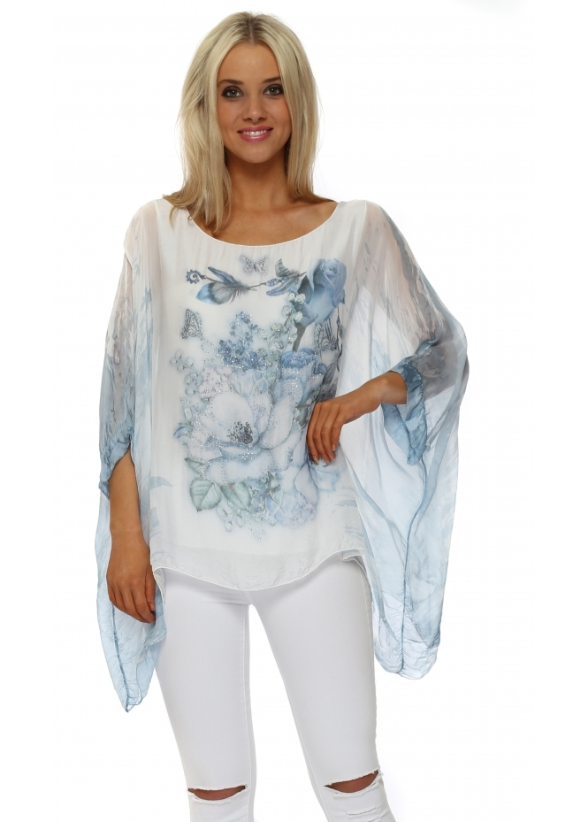 Made In Italy Baby Blue Butterfly Floral Sparkle Silk Top