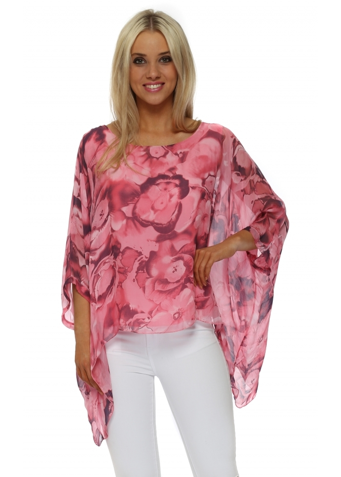 Made In Italy Fucshia Bold Rose Silk Batwing Top