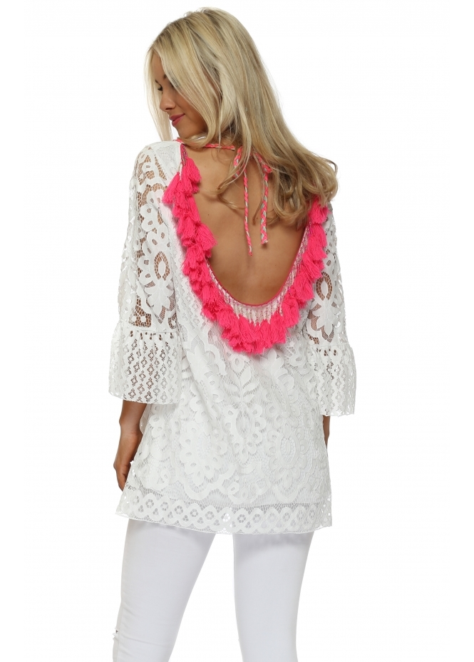 Laurie & Joe Scoop Back Pink Tassle White Lace Tunic Top