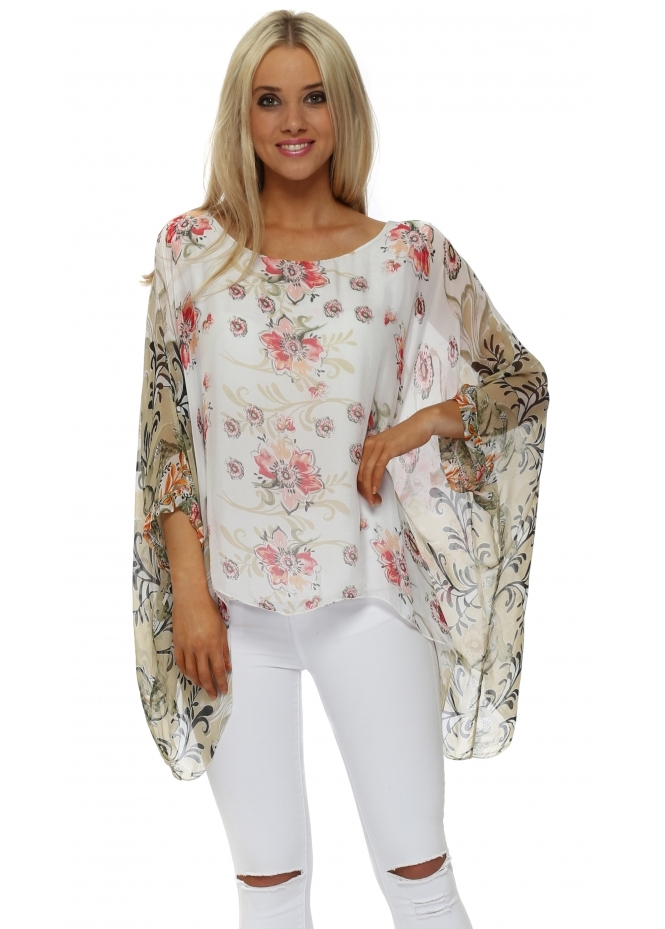 Made In Italy White Silk Floral Filigree Floaty Top