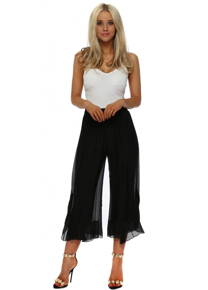 Italian Boutique Black Silk Frill Wide Leg Culottes