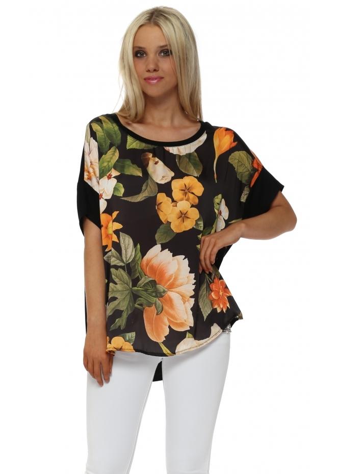 J&L Paris Black Floral Satin Front Oversized T-Shirt