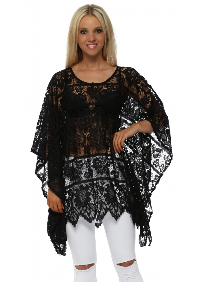 Italian Boutique Black Floral Sheer Crochet Kaftan