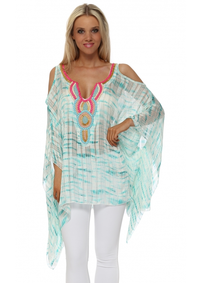Troiska Aqua Tie Dye Embellished Cold Shoulder Kaftan Top