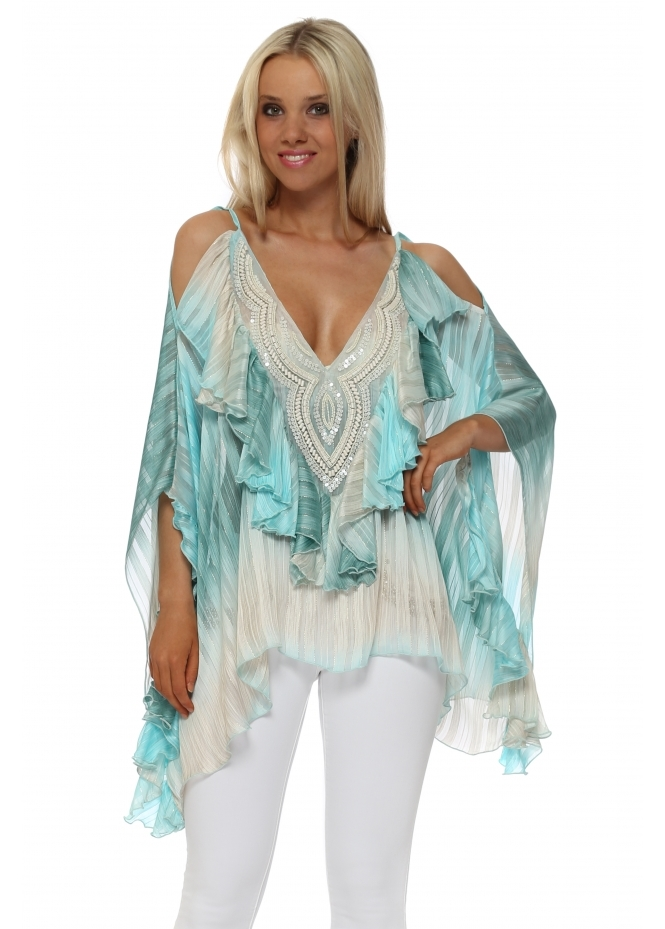 My Story Turquoise Beaded Cold Shoulder Ruffle Top