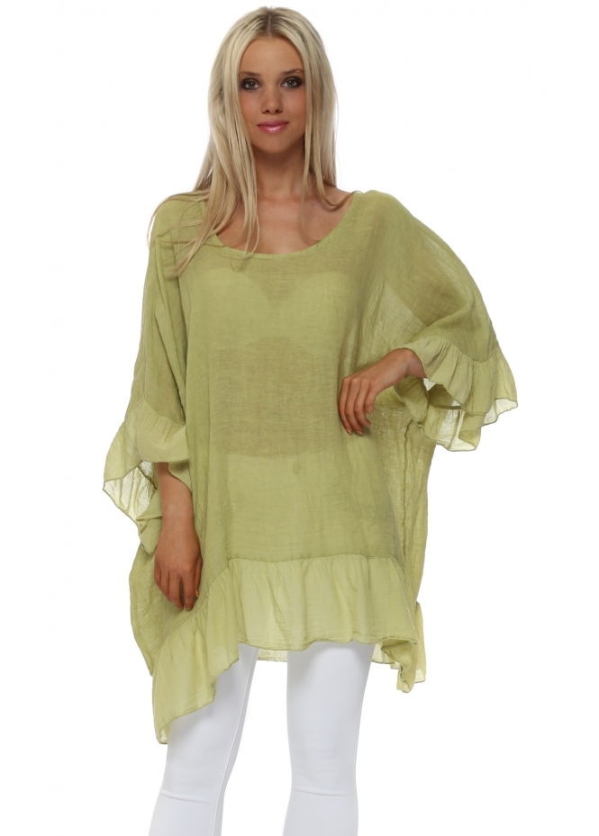 Sugar Babe Lime Linen Frilly Oversized Top