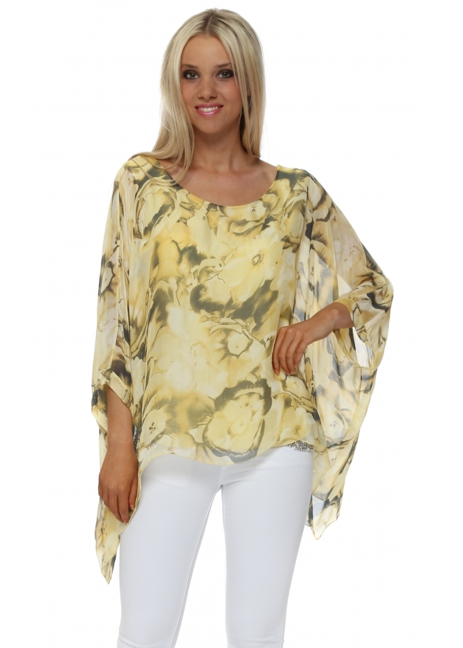 Made In Italy Yellow Bold Rose Silk Batwing Top