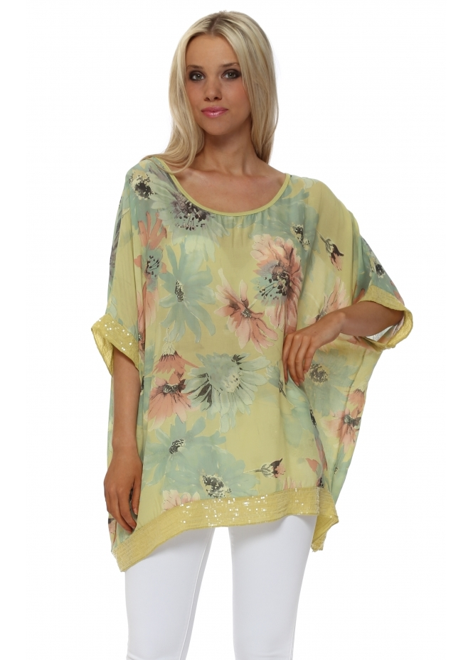 Made In Italy Lime Floral Loose Fit Sequinned Top