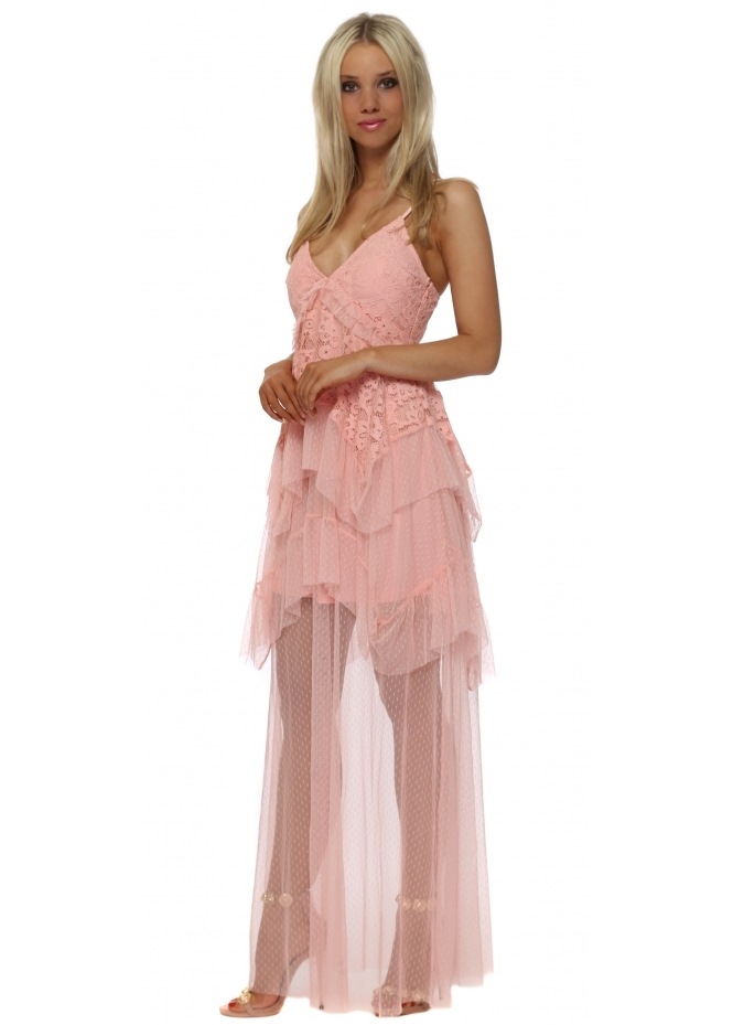 French Boutique Pink Lace & Tulle Tiered Maxi Dress