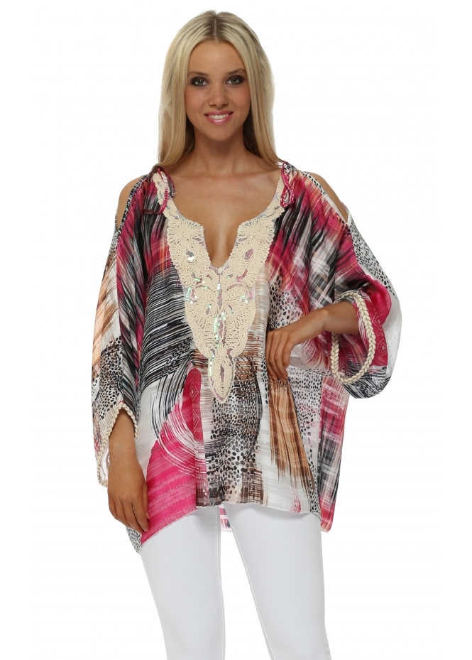 Troiska Fucshia Print Cold Shoulder Tunic Top