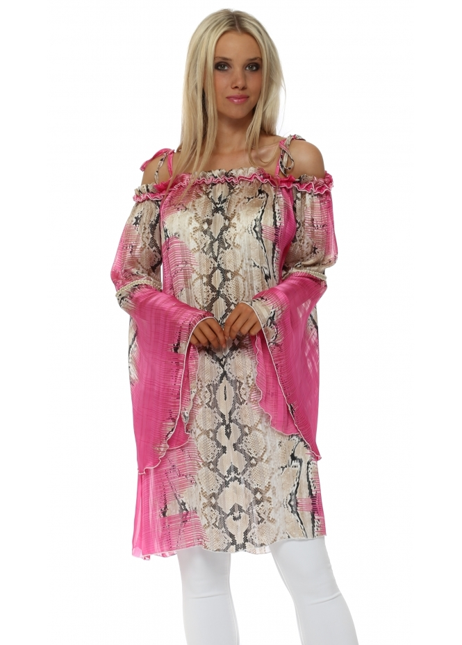 Troiska Fucshia Snake Print Bardot Bell Sleeve Tunic Top