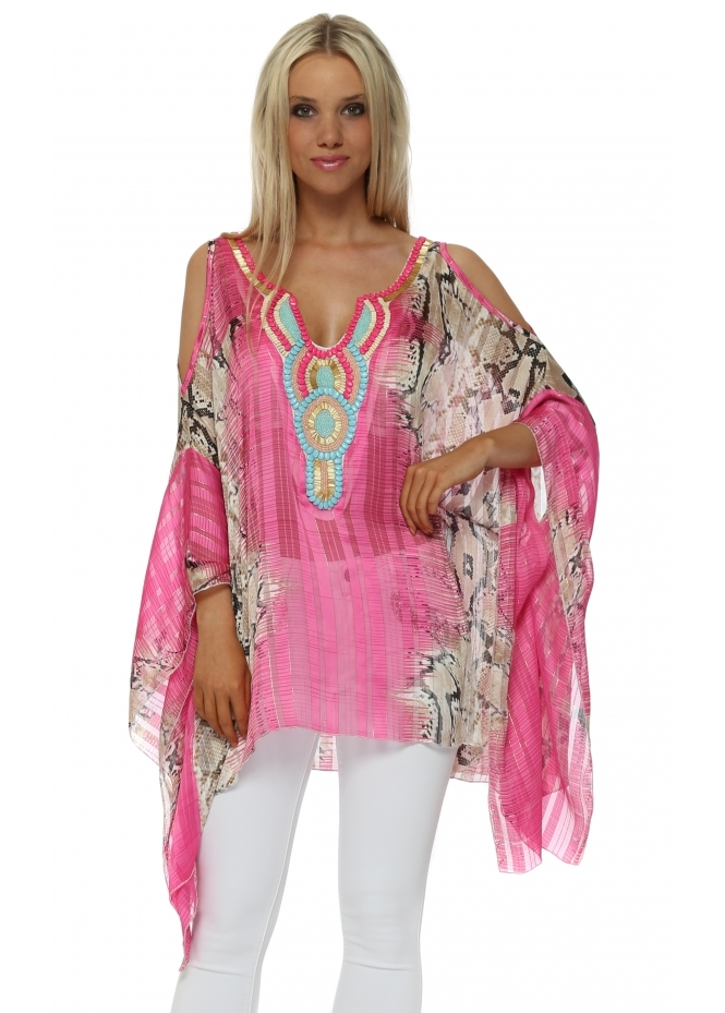 Troiska Fucshia Snake Print Embellished Cold Shoulder Kaftan Top