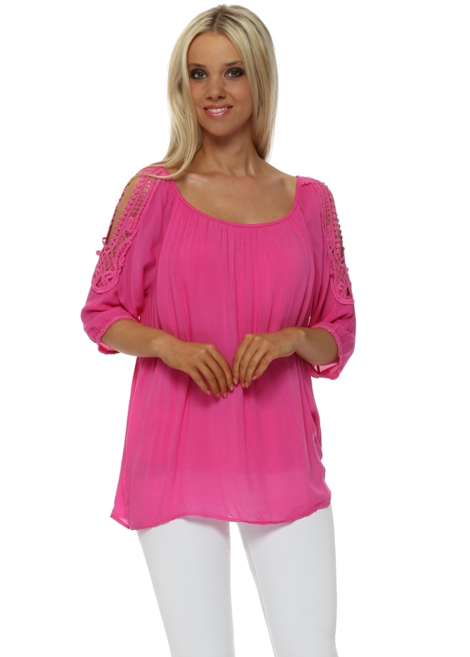 Made In Italy Hot Pink Crochet Cut Out Shoulder Blouse