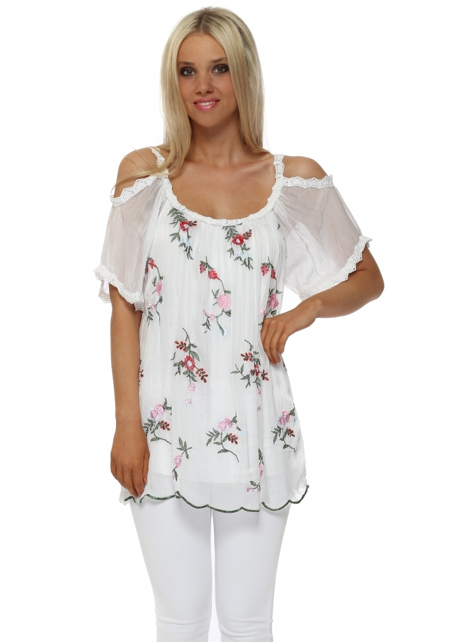 Made In Italy White Silk Fiori Embroidered Cold Shoulder Top